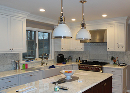 Transitional White Kitchen - Bronxville, NY