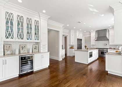 White Kitchen Cabinets, Large Kitchen - Chappaqua, NY