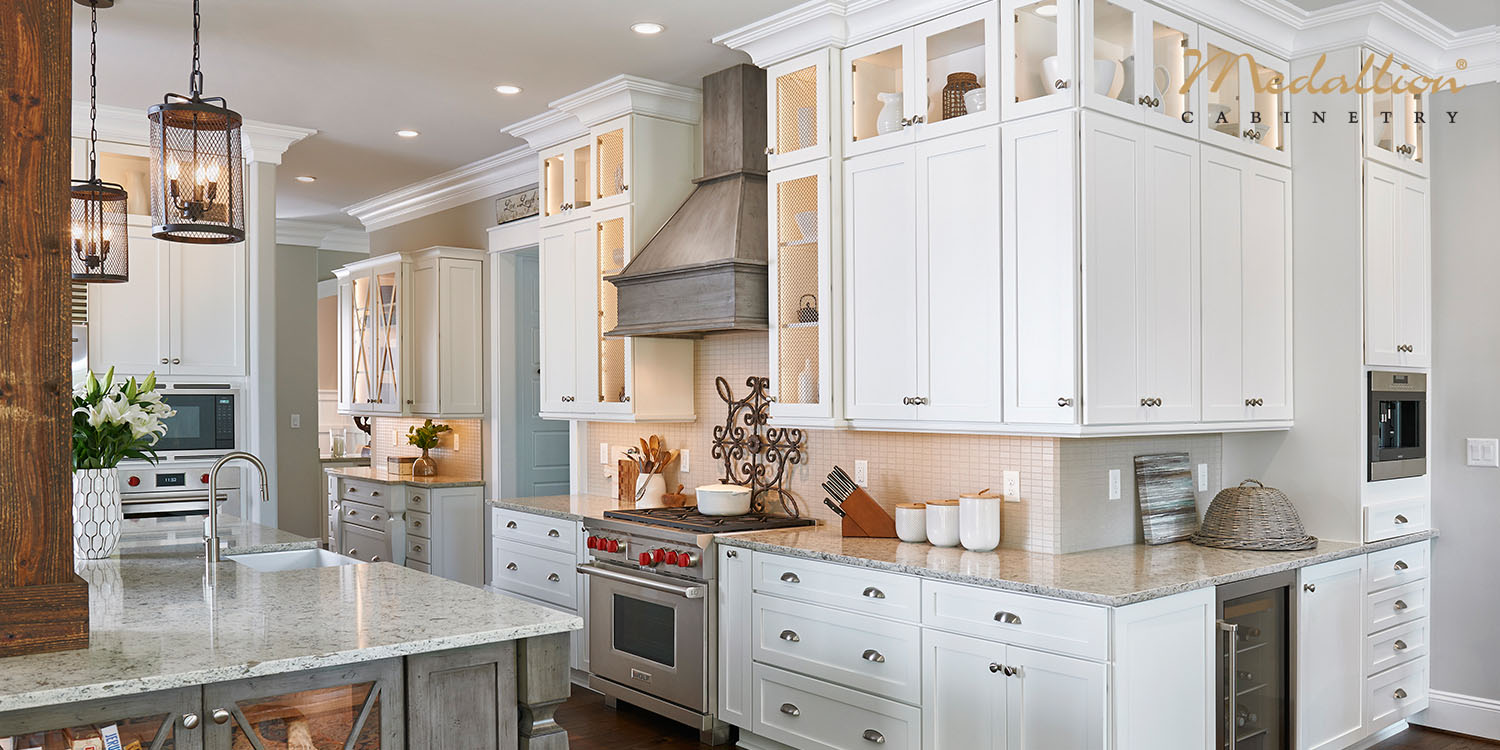 Transitional White Kitchen Design, White Cabinets, Medallion Cabinetry - Katonah, NY